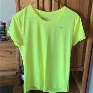 Neon yellow dry fit Nike shirt